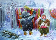 """Набір з 3-ох листівок """"Зимові янголики"""""""